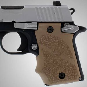 Hogue Soft Overmold Grips SIG P938 Finger Grooves Cobblestone Rubber Tan 98083