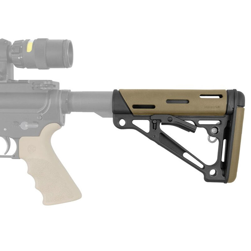 Hogue AR-15 Collapsible Carbine Buttstock Commercial OverMolded Dark Earth 15350