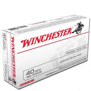 Winchester USA .40 S&W Ammunition 50 Rounds, JHP, 180 Grain