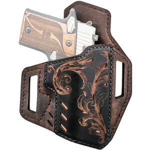 """Versacarry Decree Series Scroll Belt Slide Holster Size 2 1911 Defender and Clones Pistols with a 3"""" Barrel Right Hand Leather Brown and Black 82222-1"""