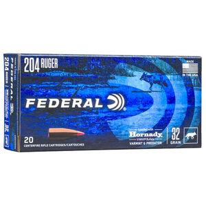Federal Varmint & Predator .204 Ruger Ammunition 20 Rounds 32 Grain Hornady V-Max Projectile 4100fps