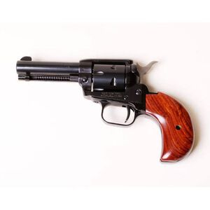 """Heritage Rough Rider Revolver Single Action Army 22LR And 22WMR 3.75"""" Barrel Alloy Blue Wood 6 Round Bird's Head Grips Fired Case Right Hand Fixed Sights 22MB3BH"""