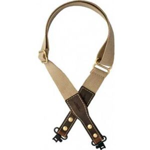 VersaCarry Cotton Web Sling Khaki with Leather Ends and Swivels 4K4F