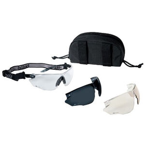 Bollé Combat Kit Eye Protection Clear/Smoke/ESP Lenses Adjustable Strap Rigid MOLLE Pouch 40168