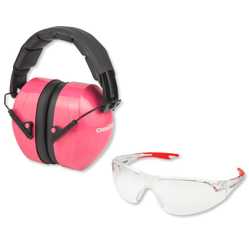Champion Traps and Targets Ballistic Eyes and Ears Combo Passive Ear Muffs and Glasses Pink 40624