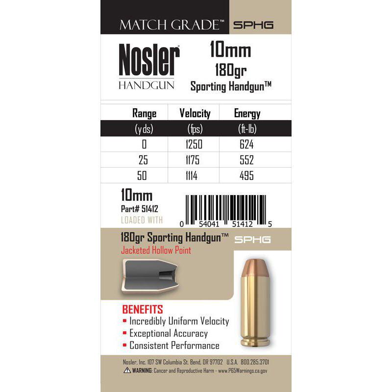 Nosler Match Grade Handgun 10mm Auto Ammunition 20 Rounds 180 Grain Sporting Handgun JHP 1250 fps