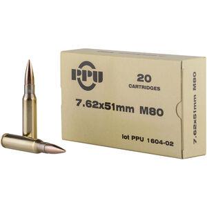 Prvi Partizan PPU Mil-Spec 7.62x51 NATO Ammunition 20 Rounds 145 Grain M80 FMJBT 2835 fps