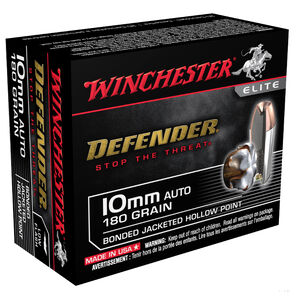 Winchester Defender 10mm Auto Ammunition 20 Rounds 180 Grain Bonded Hollow Point 1240fps
