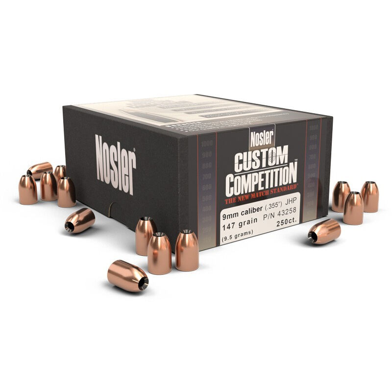 "Nosler Custom Competition Handgun Bullets 9mm .355"" Diameter 147 Grain JHP 250 Count"