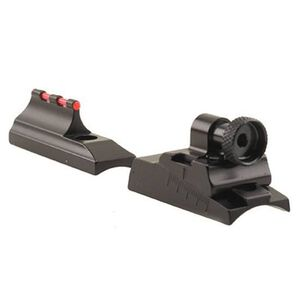 Williams Fire Sight Peep Set Ruger American 22 Long Rifle Fiber Optic Sights Fixed Front Peep Rear Steel/Aluminum Matte Black