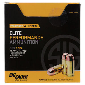 SIG Sauer Elite Performance .45ACP Ammunition 230 Grain FMJ 850fps