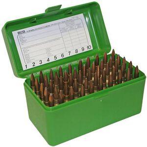 MTM Case-Gard R-50 Series 50 Round Extra Large Rifle Ammunition Box Polypropylene Green RLLD-50-10