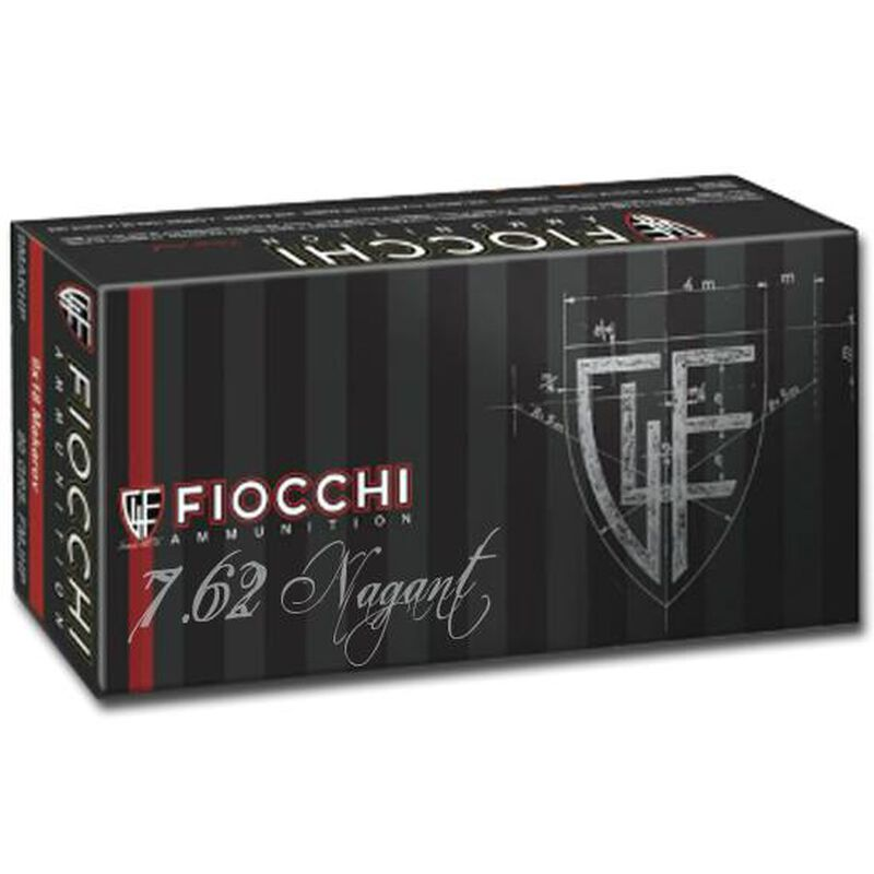 FIOCCHI 7.62x38mmR Nagant Ammunition 50 Rounds FMJ 97 Grains 762A