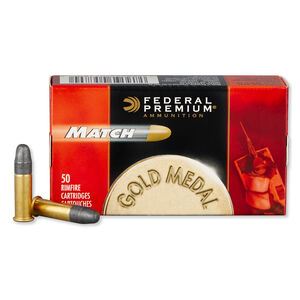 Federal Premium Gold Medal Match .22LR Ammunition 50 Rounds  LRN 40 Grain 1,080 Feet Per Second