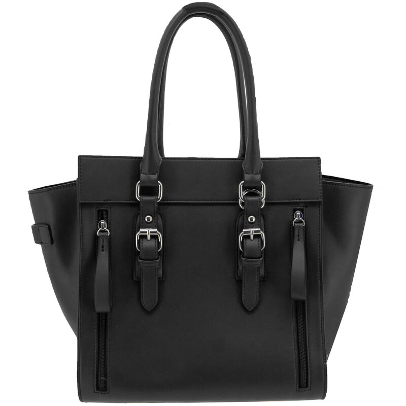"""Cameleon Aphaea Handbag with Concealed Carry Gun Compartment 10.5""""x10.5""""x7"""" Synthetic Leather Black"""