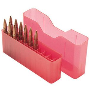 MTM Case-Gard J-20 Series Rifle Ammo Box Midlength Rifle Holds 20 Rounds Clear Red J-20-M-29