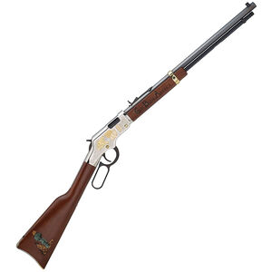 "Henry Golden Boy God Bless America Edition Lever Action Rifle .22 Long Rifle 20"" Octagon Barrel 16 Rounds Adjustable Sights American Walnut Stock Nickel Plated Receiver Blued Barrel Finish"