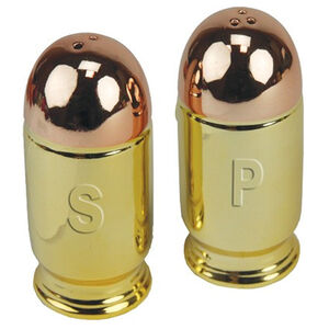 River's Edge Products Pistol Cartridge Shaped Salt and Pepper Shakers Set Ceramic Brass Color
