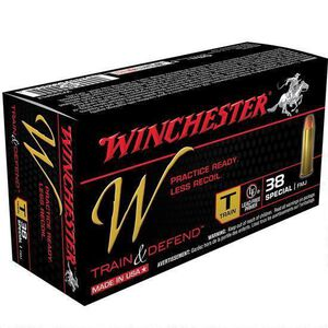 Winchester Train and Defend .38 Special Ammunition 500 Rounds, Reduced Lead FMJ, 130 Grains