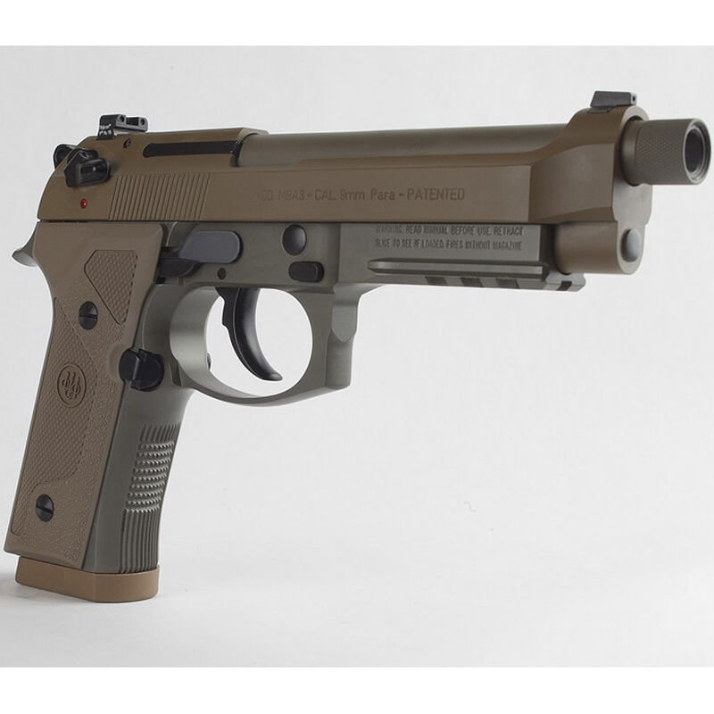 "Beretta M9A3 FS 9mm Luger SA/DA Semi Auto Pistol 5"" Threaded Barrel 10 Rounds Night Sights Safety/Decocker Polymer Grips FDE Finish"