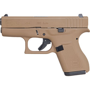 "GLOCK 42 .380 ACP Subcompact Semi Auto Pistol 3.25"" Barrel 6 Rounds Polymer Frame Apollo Custom Dark Earth Cerakote Finish"
