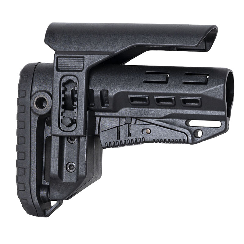 NcSTAR Compact PCP52 Collapsible AR-15 Stock With Adjustable Cheek Piece Fits Mil-Spec Buffer Tubes Polymer Black
