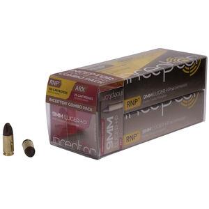 Inceptor Sport & Carry Combo Pack 9mm Luger +P Ammunition 125 Rounds Total 65 Grain ARX/RNP Lead free Cu/P 1695 fps