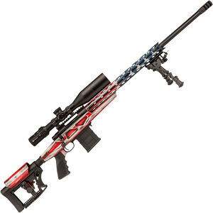 """Howa American Flag Chassis Bolt Action Rifle .308 Win 26"""" Heavy Barrel 10 Rounds APC Aluminum Chassis M-LOK Forend Luth-AR MBA-4 Stock Battleworn US Flag/Black Finish"""