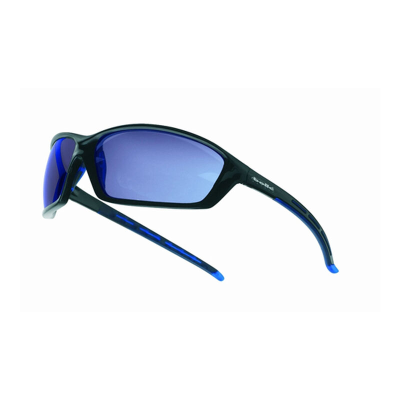 Bolle Solos Safety Glasses Black Frame with Blue Mirror Lens