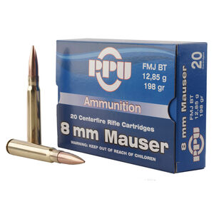 Prvi Partizan PPU 8mm Mauser Ammunition 20 Rounds 198 Grain Full Metal Jacket Boat Tail 2425fps