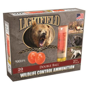 """Lightfield Wildlife Control Ammunition 20 Gauge 2-3/4"""" Double Rubber Ball 62 Caliber 900 fps"""
