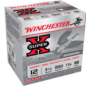 "Winchester Super-X Xpert High Velocity 12 Gauge Ammunition 3-1/2"" BB Steel Shot 1-3/8 Oz 1550 fps"