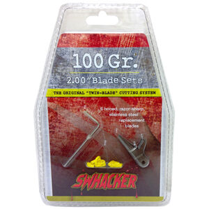 """Swhacker Products Set of 6, 100 Grain 2"""" Broadhead Replacement Blades Stainless Steel 6 Blades with Shrink Tubing SNJ-580-G2RB3"""