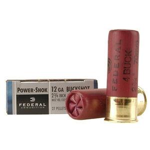 """Federal Power-Shok 12 Gauge Ammunition 5 Rounds 2.75"""" 27 Pellet #4 Buck 1,325 Feet Per Second"""