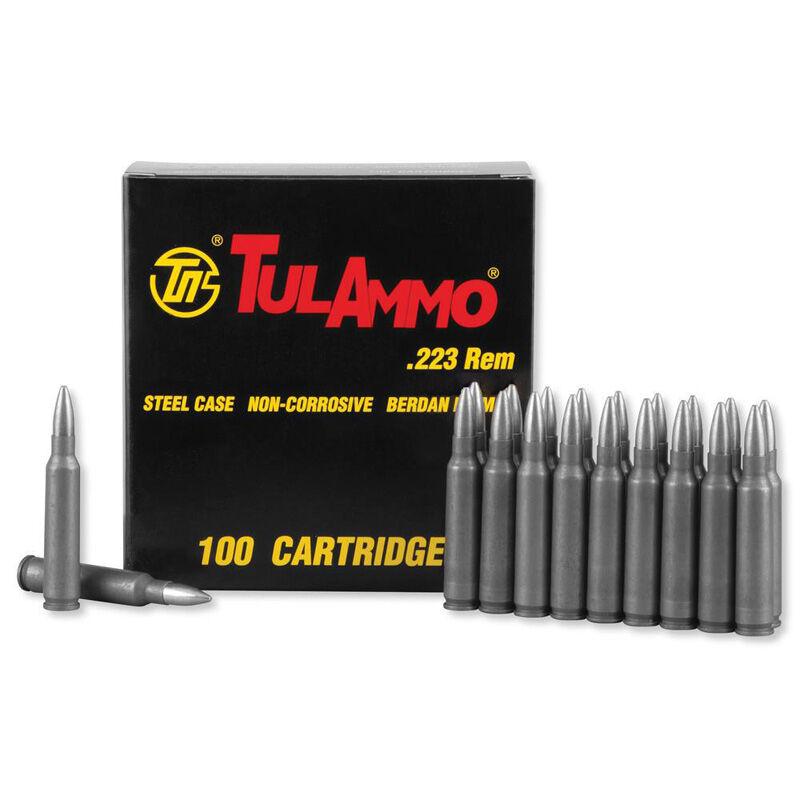 TulAmmo .223 Remington Ammunition 100 Rounds, Steel Case HP, 75 Grain