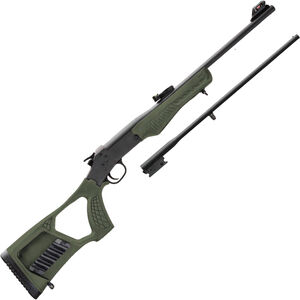 "Rossi Matched Pair Youth .22 LR/.410 Bore Single Shot Rifle/Shotgun Combo 22"" Barrel OD Green Synthetic Stock Black Finish"