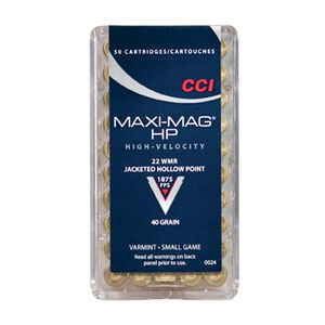 CCI Maxi-Mag .22 WMR Ammunition 50 Rounds JHP 40 Grains 1,875 Feet Per Second