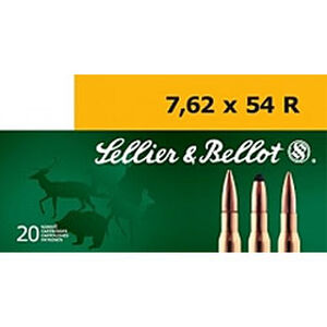 Sellier & Bellot 7.62x54R Ammunition 20 Rounds 180 Grain Full Metal Jacket 2,579fps
