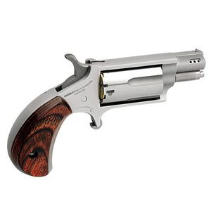 """NAA Mini Revolver Snub Micro Compact Single Action Conversion Cylinder .22 LR/.22 WMR 1.125"""" Ported Barrel 5 Rounds Steel Stainless Wood"""