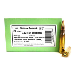 Sellier & Bellot .308 Winchester Subsonic Ammunition 600 Rounds FMJ 200 Grains SB308SUBB