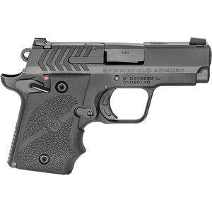 "Springfield Armory 911 9mm Luger Semi Auto Pistol 3"" Barrel 7 Rounds Pro-Glo Night Sights Steel Slide Aluminum Frame Wrap Around Rubber Grips Black Finish"