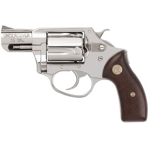 """Charter Arms Undercover .38 Special +P DA/SA Revolver 2"""" Barrel 5 Rounds Fixed Sights Wood Grips Polished Stainless Finish"""