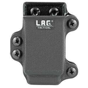 L.A.G Tactical Inc Single Pistol Magazine Carrier Single Stacked 9/40 Slim Magazines Belt Clip Attachment System Kydex Construction Matte Black