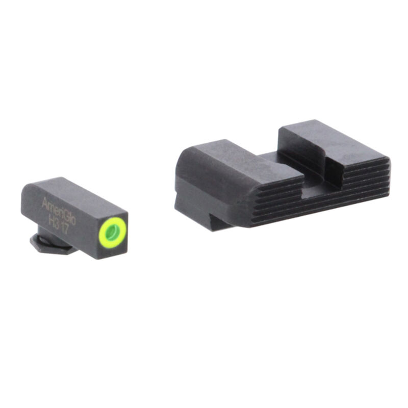 Ameriglo Sight Set for GLOCK Green Tritium Front Dot with LumiGreen Outline and Black Serrated Rear