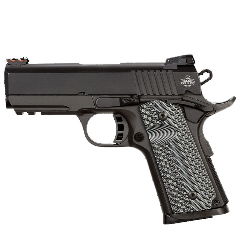 "Rock Island Armory Tac Series Ultra Compact Size 1911 Semi Auto Pistol 9mm Luger 3.5"" Barrel 8 Rounds Fiber Front/Adjustable Rear Sights G10 Grips Parkerized Matte Black"
