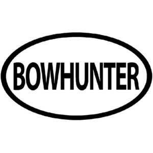 """Outdoor Decals """"Bowhunter"""" Oval Decal 4""""x6"""" Vinyl Black on White"""