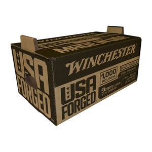 Winchester USA Forged 9mm Luger Ammunition 1000 Rounds Stack-N-Carry Steel Case FMJ 115 Grains Projectile 1190 fps