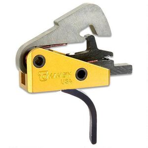 "Timney Trigger for AR-10 Rifles Small Pin .154"" Diameter 4 LB Single Stage Solid Straight Trigger Shoe Complete Drop In Aluminum Yellow 670-ST"