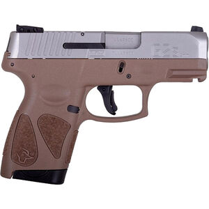 "Taurus G2S Slim 9mm Luger Semi Auto Pistol 3.2"" Barrel 7 Rounds Single Action with Restrike 3 Dot Sights Thumb Safety Brown Polymer Frame Stainless Finish"
