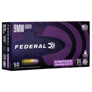 Federal Syntech Training Match 9mm Luger Ammunition 50 Rounds 124 Grain Syntech Jacket Flat Nose 1050fps